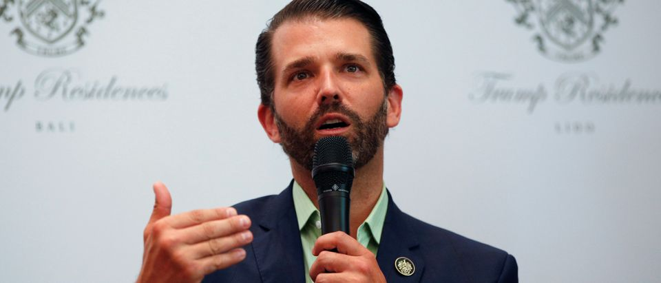 Executive Vice President of The Trump Organization, Donald J. Trump Jr., gestures as he speaks during a news conference following pre-launch of the Trump Residences in Jakarta