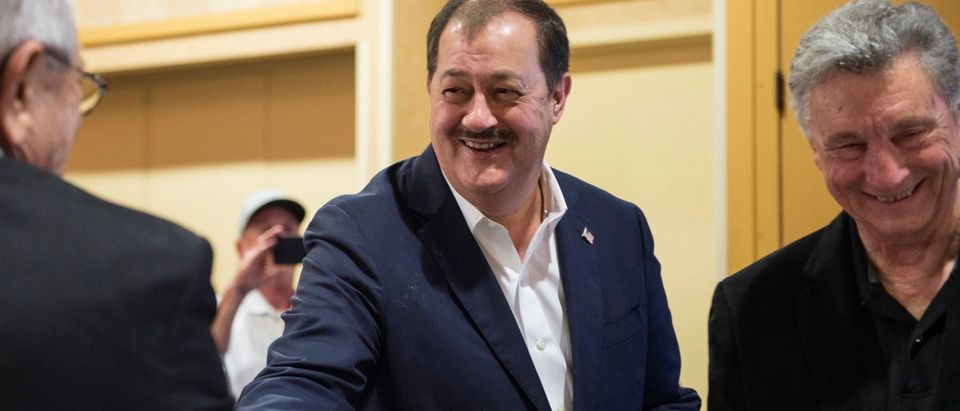 Republican U.S. Senate candidate Don Blankenship watches results during the primary election in Charleston
