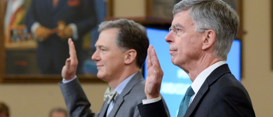 George Kent and William Taylor are sworn in during public hearings in the House impeachment inquiry on Capitol Hill in Washington