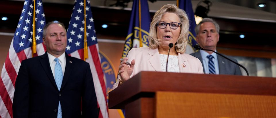 House Republican Conference Chair Liz Cheney speaks at a news conference on Capitol Hill
