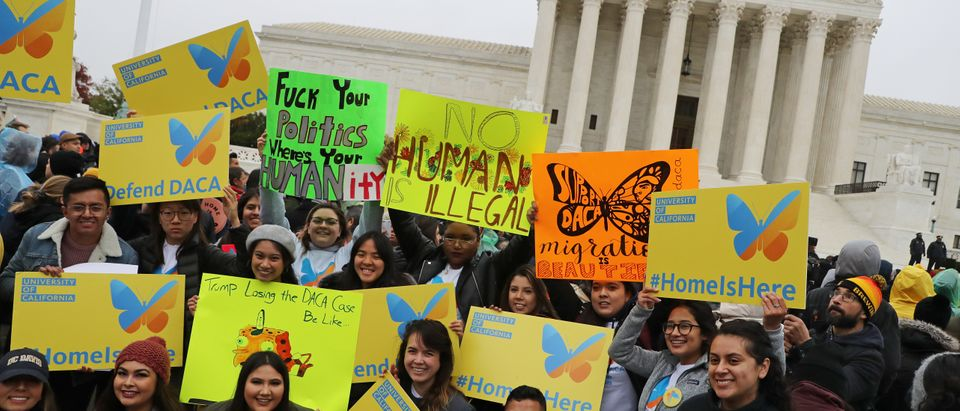 Pro-DACA protestors rally outside the Supreme Court on November 12, 2019. (Chip Somodevilla/Getty Images)