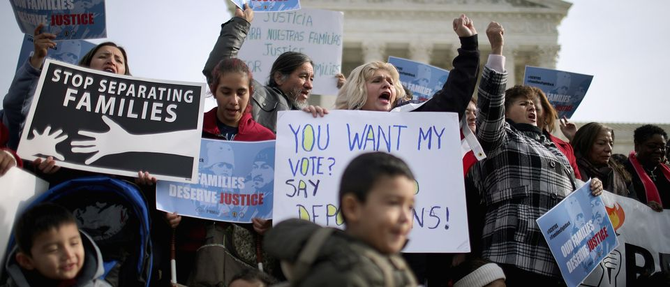 Pro-immigration reform demonstrators outside the Supreme Court on January 15, 2016. (Chip Somodevilla/Getty Images)