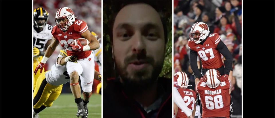 Wisconsin, Iowa reaction (Credit: Twitter video screenshot/Getty Images compilation)