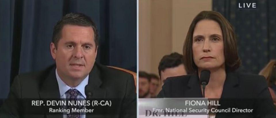 Rep. Devin Nunes questions Fiona Hill, Nov. 21, 2019. (YouTube screen capture/C-SPAN)