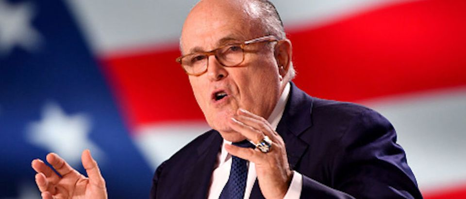 Former Mayor of New York Rudolph Giuliani speaks during the Conference In Support Of Freedom and Democracy In Iran on June 30, 2018 in Paris, France
