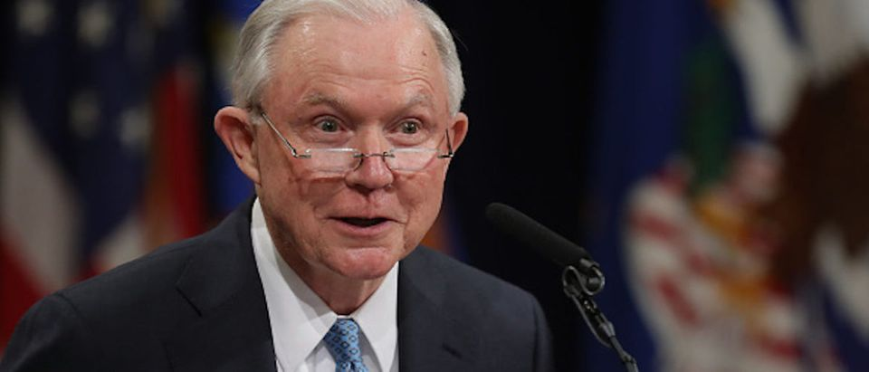 Former U.S. Attorney General Jeff Sessions delivers remarks during a farewell ceremony for Deputy Attorney General Rod Rosenstein at the Robert F. Kennedy Main Justice Building May 09, 2019 in Washington, DC