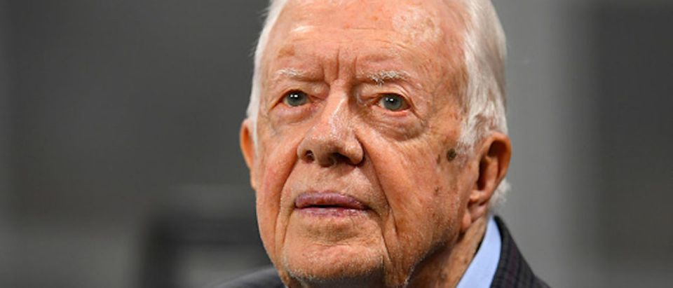 Former president Jimmy Carter prior to the game between the Atlanta Falcons and the Cincinnati Bengals at Mercedes-Benz Stadium on September 30, 2018