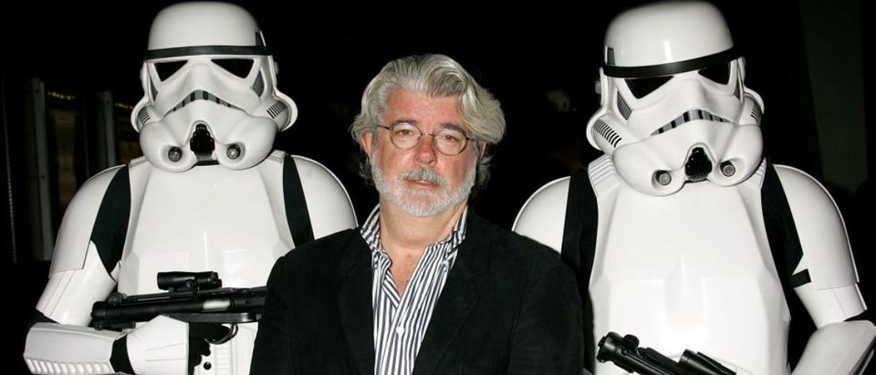 """HOLLYWOOD - OCTOBER 03: Director George Lucas presents the film """"Star Wars - Episode IV: A New Hope"""" at AFI's 40th Anniversary celebration presented by Target held at Arclight Cinemas on October 3, 2007 in Hollywood, California. (Photo by David Livingston/Getty Images for AFI)"""