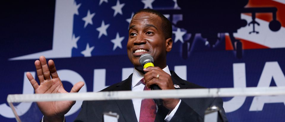 John James, Michigan GOP Senate candidate, speaks at an election night event after winning his primary election at his business James Group International Aug. 7, 2018 in Detroit, Michigan. (Photo by Bill Pugliano/Getty Images)