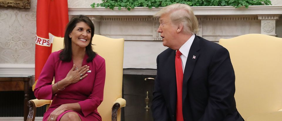 President Trump Meets With UN Ambassador Nikki Haley At The White House
