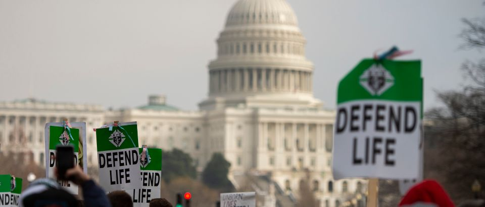 """Students and activists carry signs during the annual """"March for Life"""" in Washington, D.C., on Jan. 18, 2019. (Photo: ANDREW CABALLERO-REYNOLDS/AFP via Getty Images)"""
