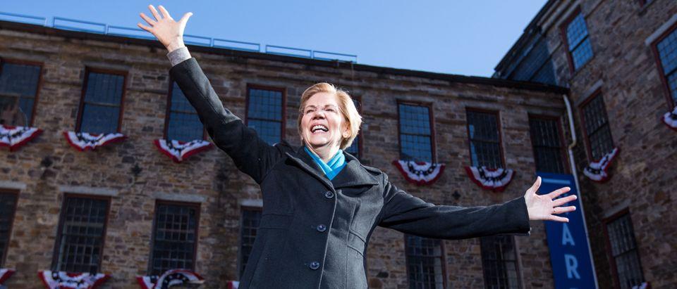Sen. Elizabeth Warren announces her official bid for President on Feb. 9, 2019 in Lawrence, Massachusetts. (Photo by Scott Eisen/Getty Images)