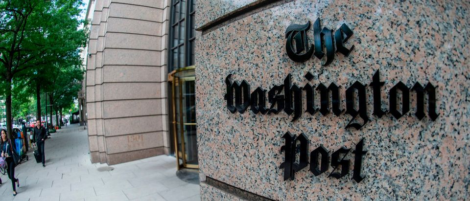 The building of the Washington Post newspaper headquarter is seen on K Street in Washington, D.C., on May 16, 2019. (ERIC BARADAT/AFP via Getty Images)