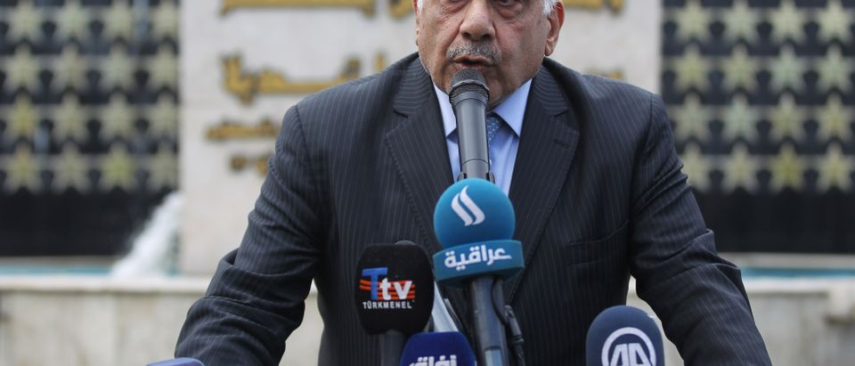 Iraq's Prime Minister Adel Abdel Mahdi speaks during a symbolic funeral ceremony in Baghdad on Oct. 23, 2019. (AHMAD AL-RUBAYE/AFP via Getty Images)