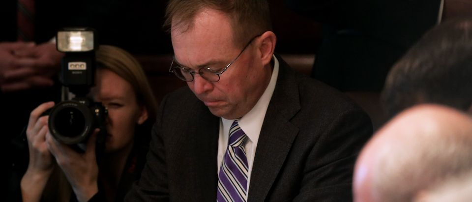 Acting White House Chief of Staff Mick Mulvaney participates in a prayer during a cabinet meeting in the Cabinet Room of the White House Oct. 21, 2019 in Washington, D.C. (Photo by Alex Wong/Getty Images)