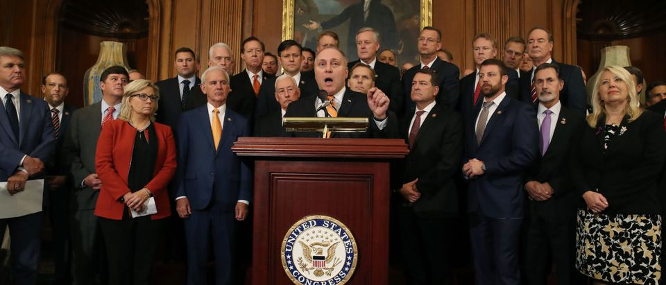 House Republican Whip Steve Scalise (R-LA) (C), speaks durng a news conference after the close of a vote by the U.S. House of Representatives on a resolution formalizing the impeachment inquiry centered on U.S. President Donald Trump October 31, 2019 in Washington, DC. The resolution, passed by a vote of 232-196, creates the legal framework for public hearings, procedures for the White House to respond to evidence and the process for consideration of future articles of impeachment by the full House of Representatives. (Photo by Mark Wilson/Getty Images)