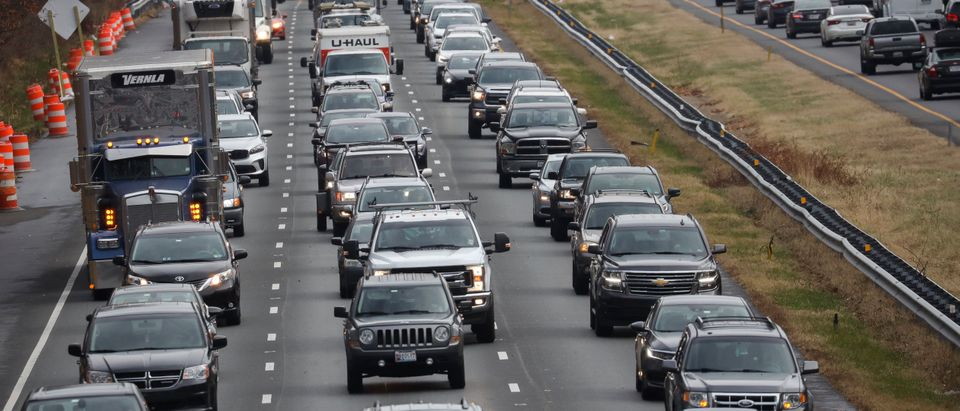 Heavy traffic moves slowly on I-495 (Capital Beltway) the day before Thanksgiving November 27, 2019 in Bethesda, Maryland. (Drew Angerer/Getty Images)