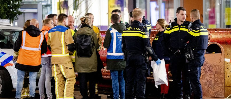 Police arrive at the Grote Marktstraat, one of the main shopping streets in the centre of the Dutch city of The Hague, after several people were wounded in a stabbing incident on Nov. 29, 2019. (SEM VAN DER WAL/ANP/AFP via Getty Images)