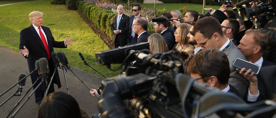 U.S. President Donald Trump talks to journalists while departing the White House November 04, 2019 in Washington, DC. Trump is traveling to Kentucky for a 'Keep America Great' campaign rally in Lexington, Kentucky. (Photo by Chip Somodevilla/Getty Images)