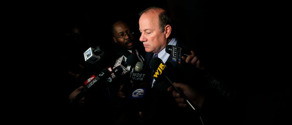 DETROIT, MI - MAY 21: Detroit Mayor Mike Duggan speaks speaks to reporters after a luncheon May 21, 2014 in Detroit, Michigan. JP Morgan Chase CEO Jamie Dimon announced during the luncheon that JP Morgan Chase will invest $100-million to help the city of Detroit with blight removal, urban development, home loans and retraining people in the work force. (Photo by Joshua Lott/Getty Images)