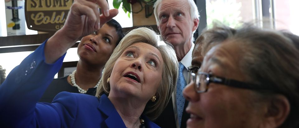 Hillary Clinton Meets With DC Mayor And DC Representative At Coffee Shop