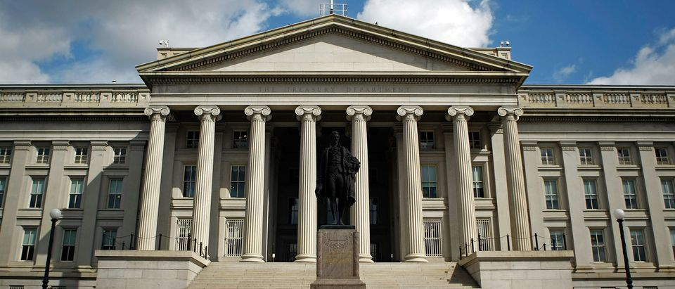 A statue of the first United States Secretary of the Treasury Alexander Hamilton stands in front of the U.S. Treasury Sept. 19, 2008 in Washington, D.C. (Photo by Chip Somodevilla/Getty Images)