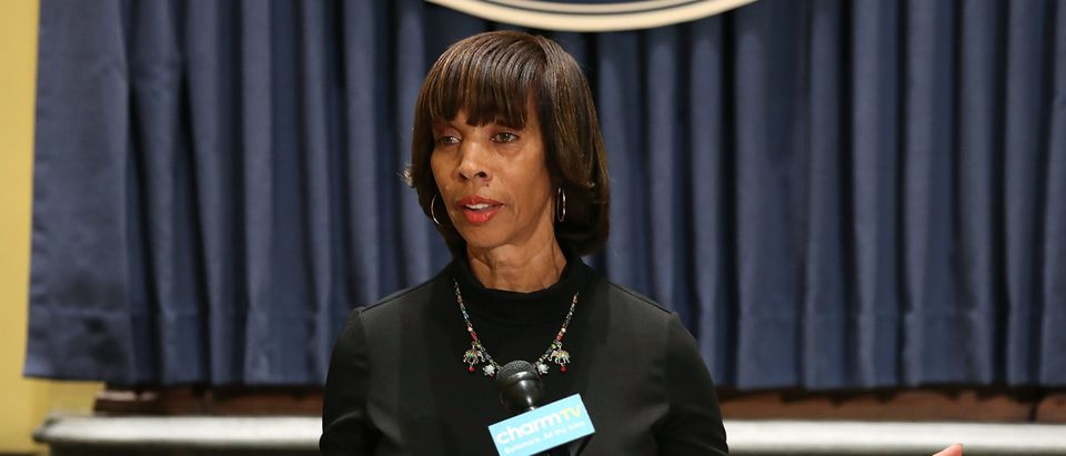 Baltimore Mayor Catherine Pugh talks about the late night removal of four confederate statues in the city, on August 16, 2017 in Baltimore, Maryland. (Mark Wilson/Getty Images)