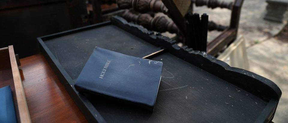 Bible placed on desk