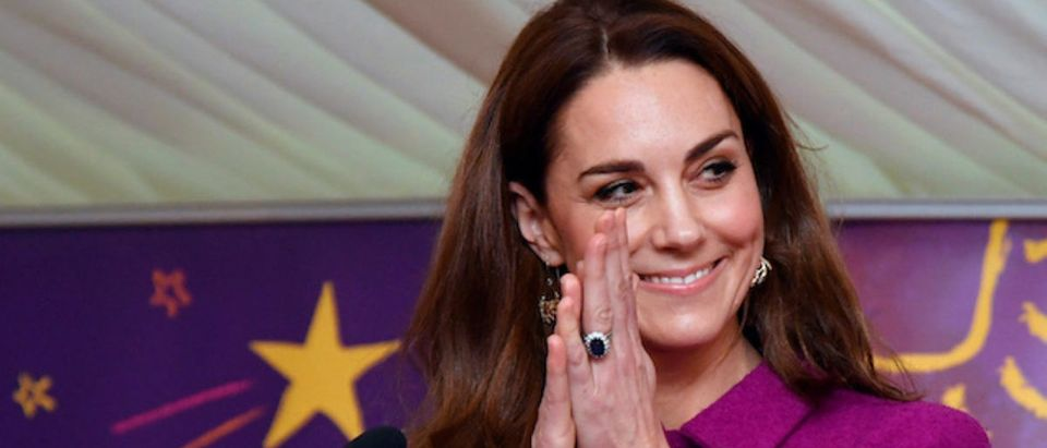 Britain's Catherine, Duchess of Cambridge, gestures as she delivers a speech, officially opening the Nook Children's Hospice in Norfolk, Britain November 15, 2019. REUTERS/Toby Melville/Pool