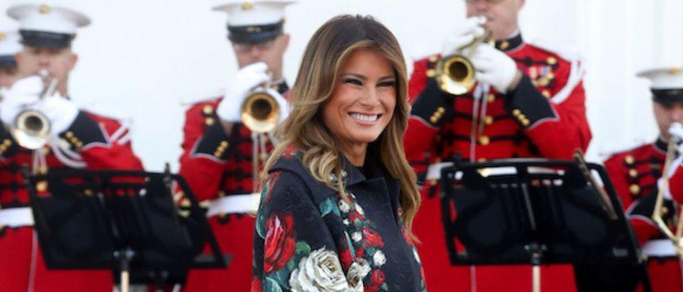 U.S. first lady Melania Trump receives 2019 White House Christmas Tree in Washington