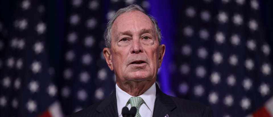 Newly announced Democratic presidential candidate, former New York Mayor Michael Bloomberg speaks during a press conference to discuss his presidential run on Nov. 25, 2019 in Norfolk, Virginia. (Photo by Drew Angerer/Getty Images)