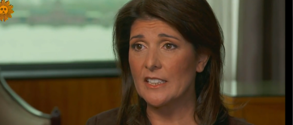 Nikki Haley stands with Trump on impeachment (CBS screengrab)