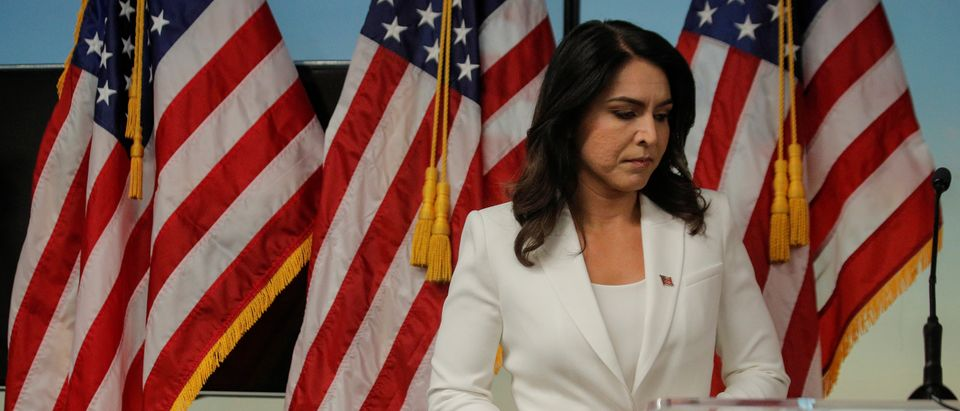 2020 Democratic U.S. presidential candidate and U.S. Rep. Tulsi Gabbard speaks during a news conference at the The 9/11 Tribute Museum in New York