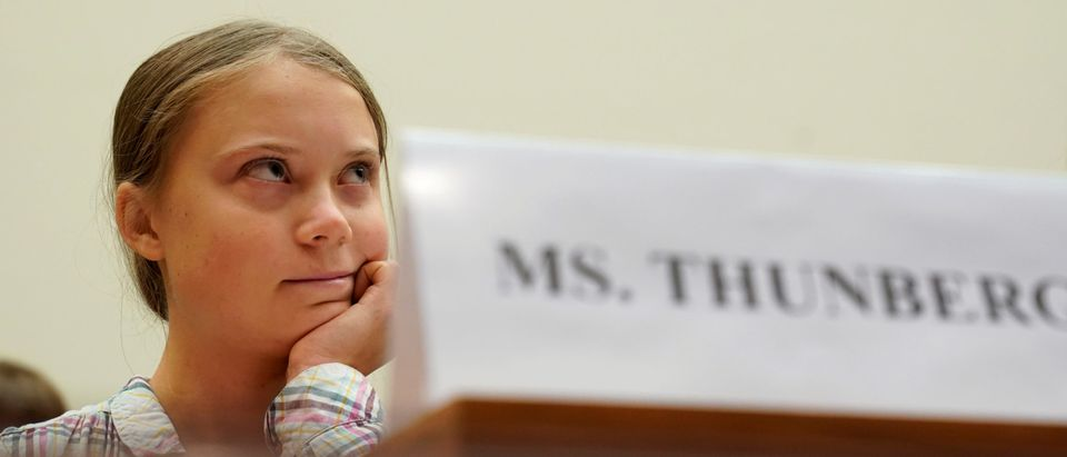 "Sixteen-year-old Swedish climate activist Greta Thunberg testifies at a House Foreign Affairs subcommittee and House Select Climate Crisis Committee joint hearing on ""Voices Leading the Next Generation on the Global Climate Crisis"" on Capitol Hill in Washington U.S., Sept. 18, 2019. REUTERS/Kevin Lamarque"