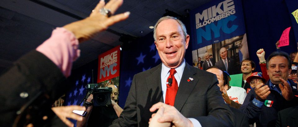 New York City Mayor Michael Bloomberg greets supporters after his election win in New York
