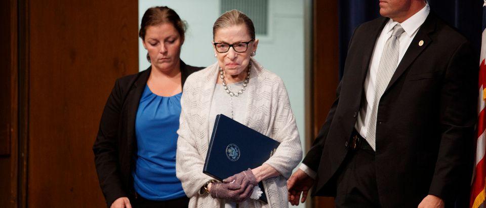 Justice Ruth Bader Ginsburg arrives to deliver remarks at Georgetown University on September 12, 2019. (Tom Brenner/Getty Images)