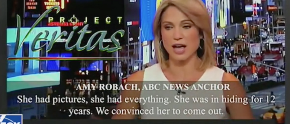 Project Veritas video shows ABC reporter Amy Robach complaining about quashed Epstein story. Screen Shot/FoxNews