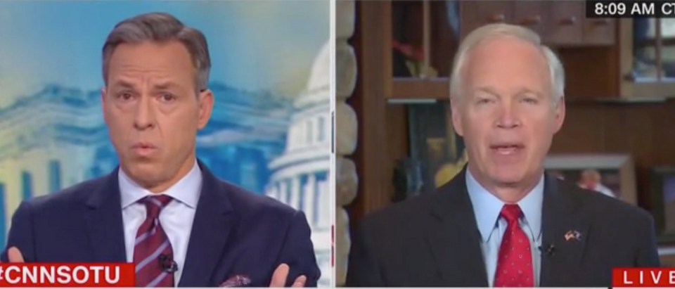 "Jake Tapper speaks with Wisconsin Sen. Ron Johnson on ""State of the Union."" Screen Shot/CNN"