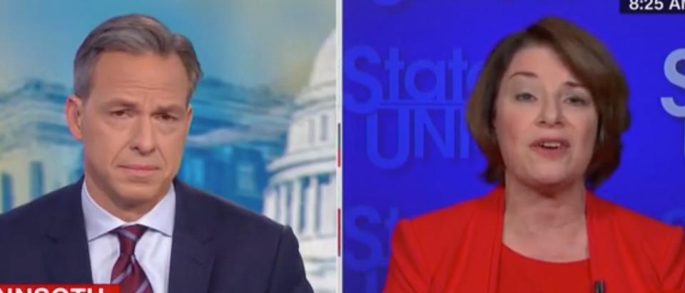 Jake Tapper speaks with Minnesota Sen. Amy Klobuchar. Screen Shot/CNN