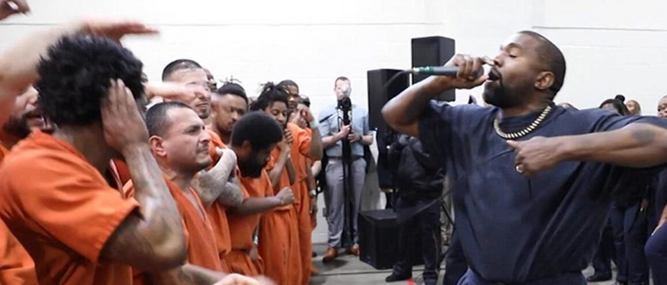 Kanye West performs for inmates in Harris County, Texas