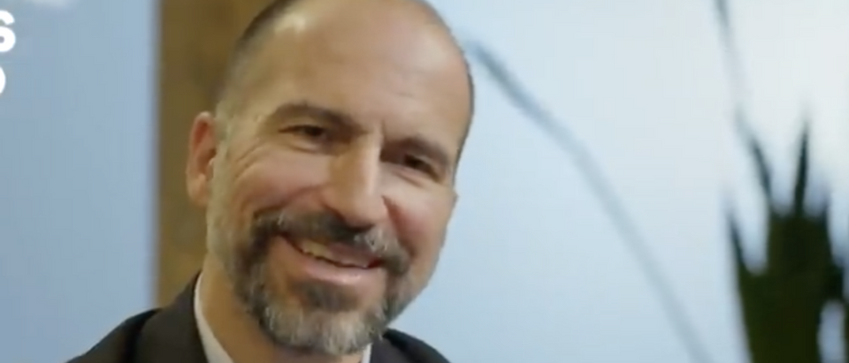 The Uber CEO is pictured. (Axios/ screenshot/ YouTube)