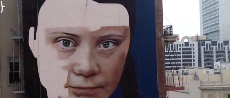 A screenshot of a Greta Thunberg mural in San Francisco is pictured. (KPIX CBS SF Bay Area/ screenshot/ YouTube)
