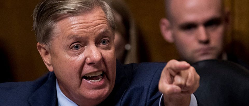 Sen. Lindsey Graham, R-S.C., points at the Democrats as he defends Judge Brett Kavanaugh during the Senate Judiciary Committee hearing on his nomination be an associate justice of the Supreme Court of the United States,