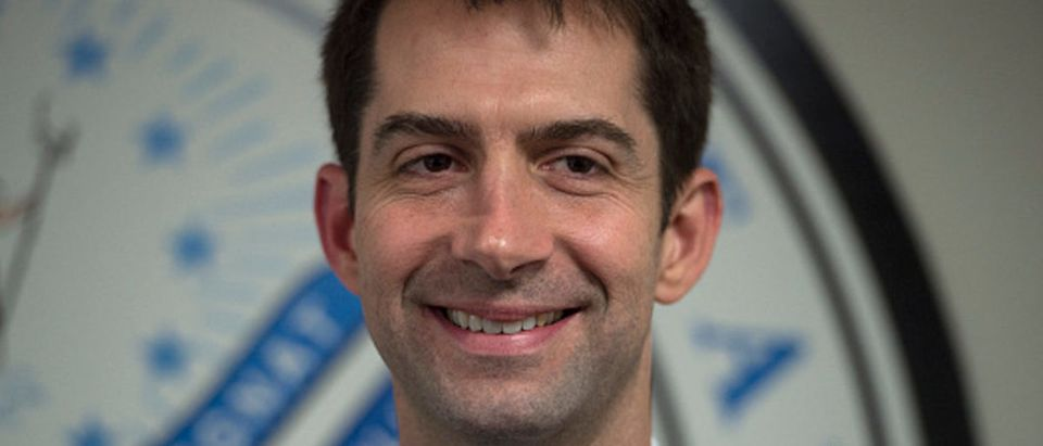 Senator Tom Cotton (R-Arkansas) is photographed in his office on Capitol Hill in Washington, D.C., on Wednesday, March 11, 2015