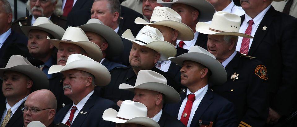 Members of the National Sheriffs' Association listen as President Donald Trump speaks after receiving an award on September 26, 2019. (Mark Wilson/Getty Images)