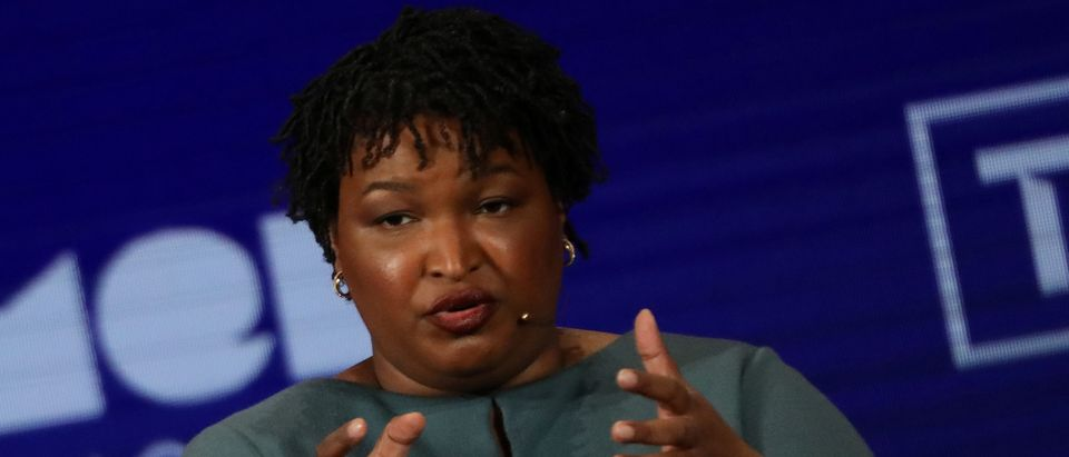 Former Georgia Democratic gubernatorial nominee Stacey Abrams speaks on stage at the Women In The World Summit in New York