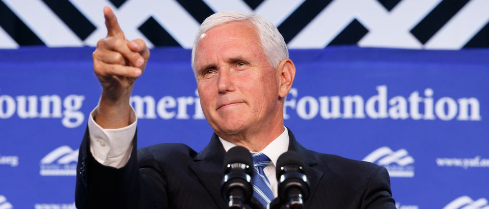 Vice President Mike Pence speaks at a YAF conference. YAF.