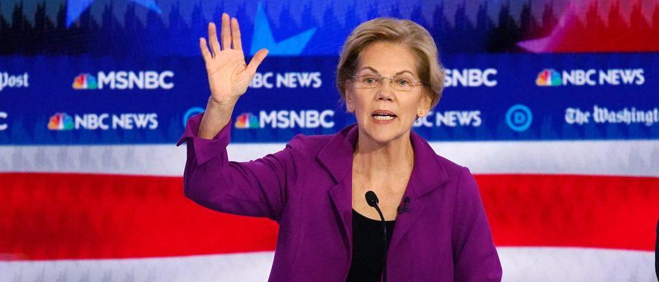 Senator Elizabeth Warren speaks during the U.S. Democratic presidential candidates debate at the Tyler Perry Studios in Atlanta
