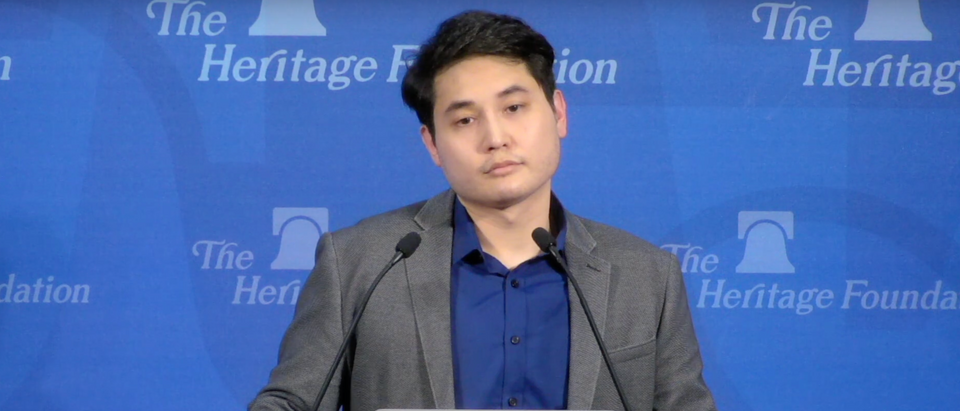 Andy Ngo speaks about Antifa at an event hosted by The Heritage Foundation in Washington, D.C. (Screenshot Youtube The Heritage Foundation)