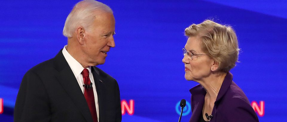 Former Vice President Joe Biden and Sen. Elizabeth Warren are pictured. (Win McNamee/Getty Images)